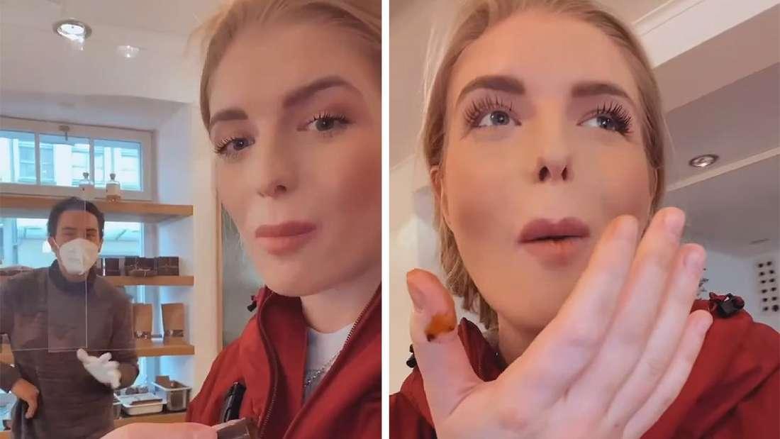 Fotomontage: zwei Bilder nebeneinander, beide zeigen Antonia beim Schokolade probieren