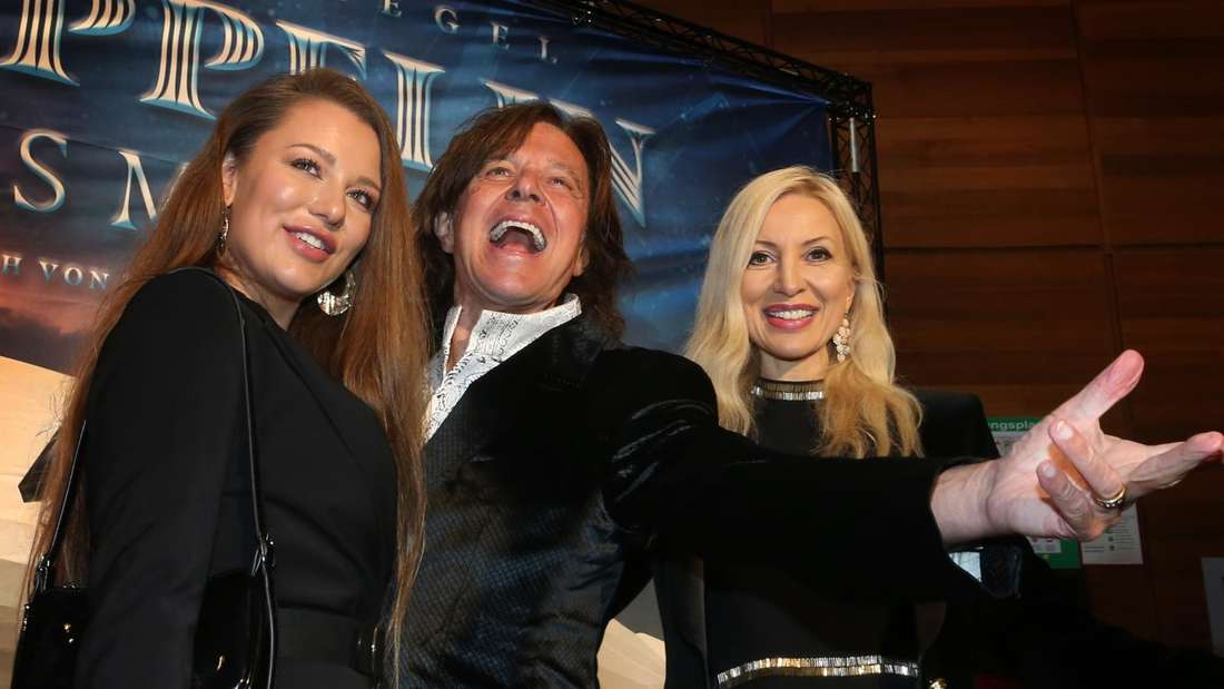 Jürgen Drews mit Joelina und Ramona beim Fotoshooting