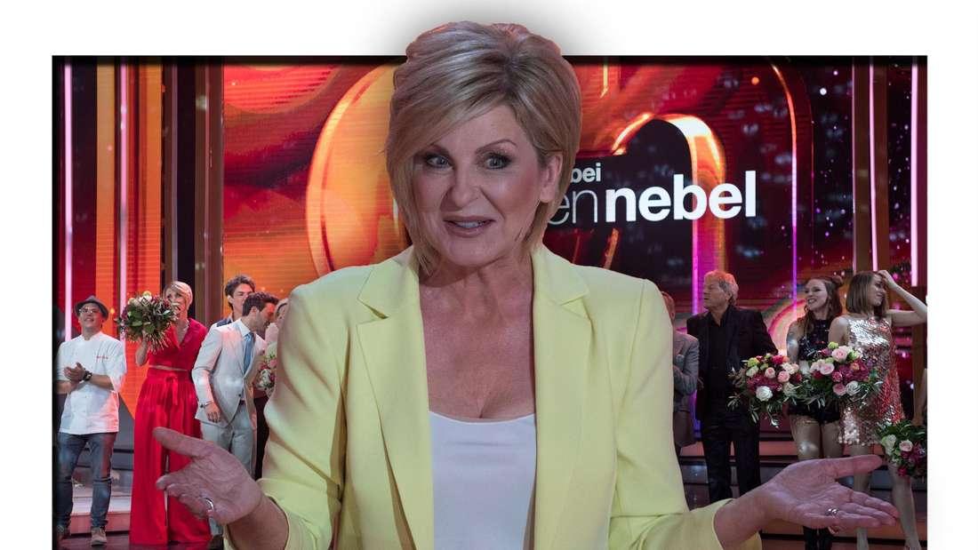 """Moderatorin Carmen Nebel vor der Kulisse ihrer Schlagershow """"Willkommen bei Carmen Nebel"""" (Fotomontage)"""