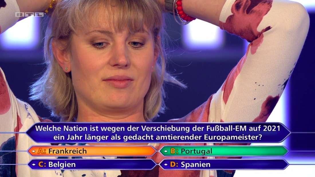 Dr. Lisa Bross scheitert an der 8.000 Euro Frage und fällt auf 1.000 zurück