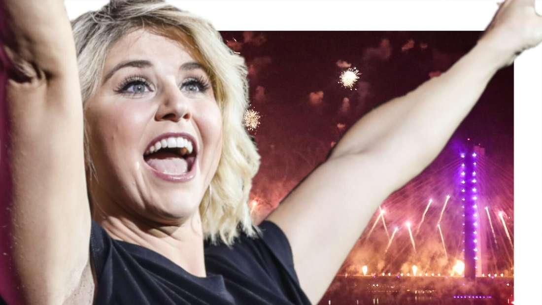 Beatrice Egli freut sich, im Hintergrund ein Feuerwerk (Fotomontage)