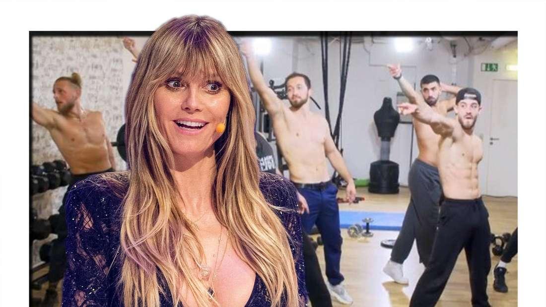 Heidi Klum guckt überrascht als Magic Mike Tänzer ohne Shirt vor ihr stehen
