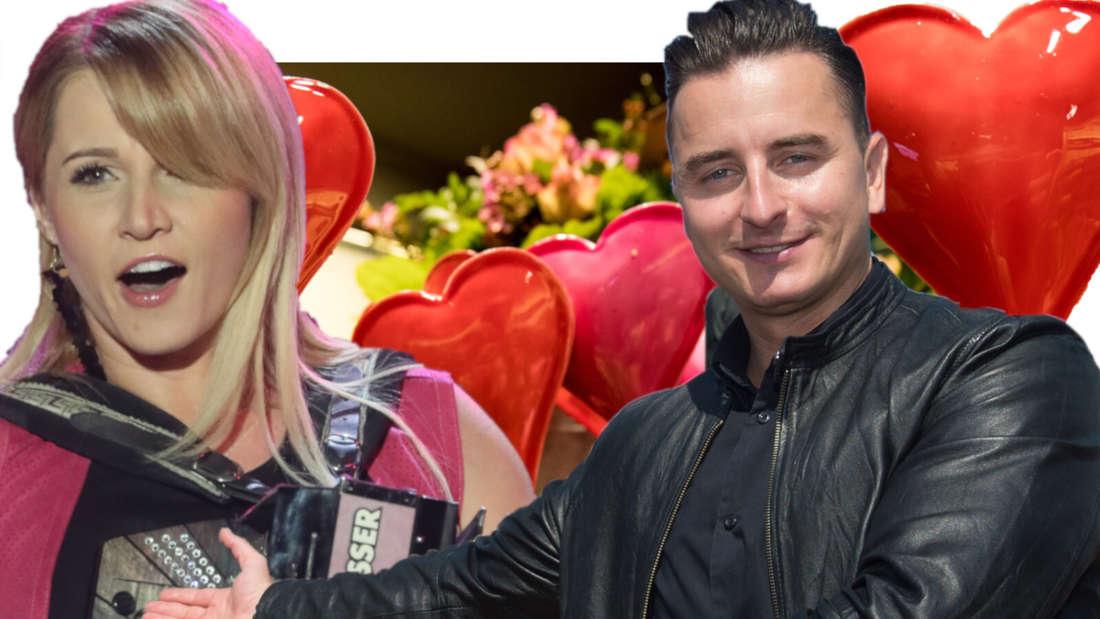 Andreas Gabalier zeigt auf Melissa Naschenweng, im Hintergrund Herzen (Fotomontage)