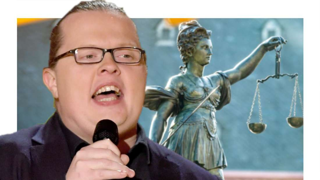 Angelo Kelly im Vordergrund, dahinter Justizia (Fotomontage)