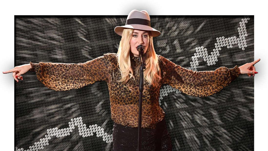 Popsängerin Sarah Connor vor steigenden Aktienkursen (Fotomontage)