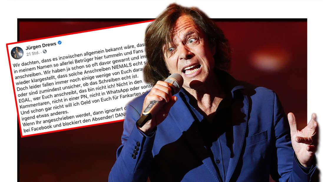 """Jürgen Drews singt am 25.09.2015 im Coloneum in Köln in der RTL-Tanzshow """"Stepping Out"""" in einer Werbepause. Daneben: Screenshot von Jürgen Drews Facebook-Post. (Fotomontage)"""