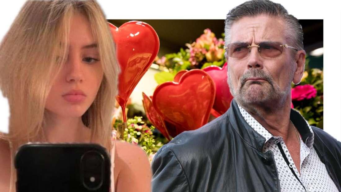 Leni Klum schaut auf ihr Handy und Günther Klum schaut kritisch (Fotomontage)