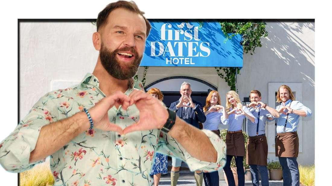 First Dates Hotel Crew und Roland Trettl stehen im Hintergrund Kandidat Adam macht eine Herzform mit seinen Händen