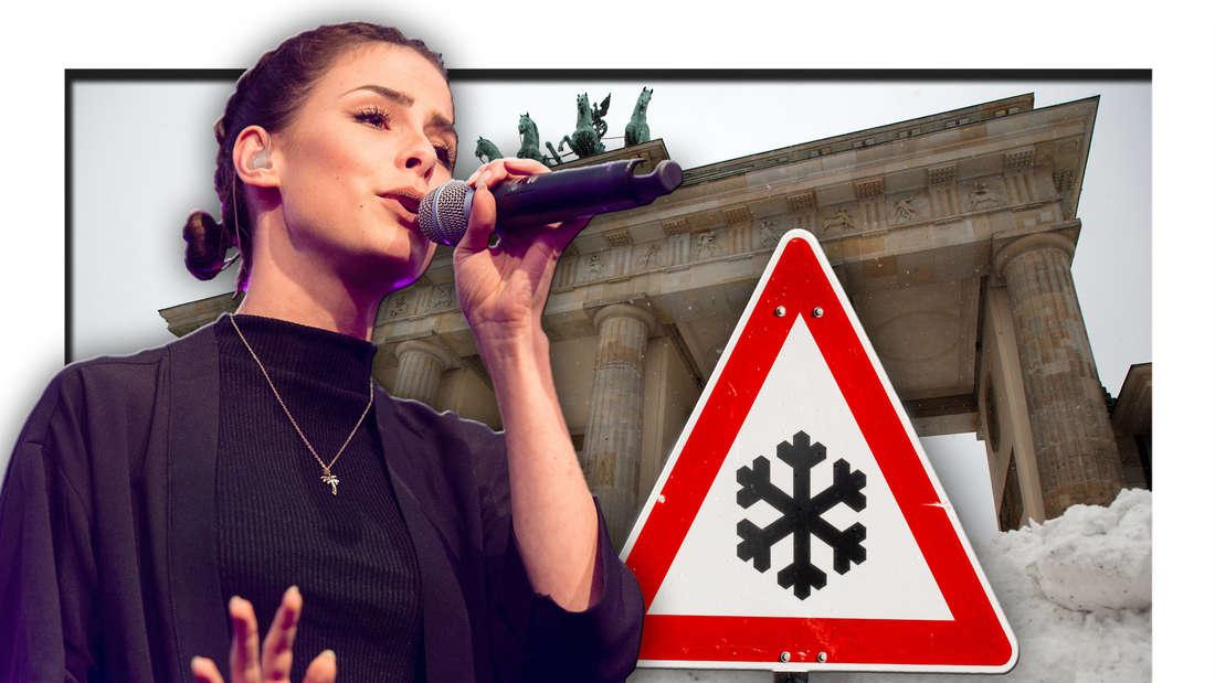 Popsängerin Lena Meyer-Landrut vor dem Brandenburger Tor in Berlin, daneben ein Warnschild (Fotomontage)