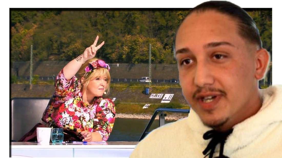 Collage: DSDS-Kandidat Enrico und Jurorin Maite Kelly auf dem Castingshiff