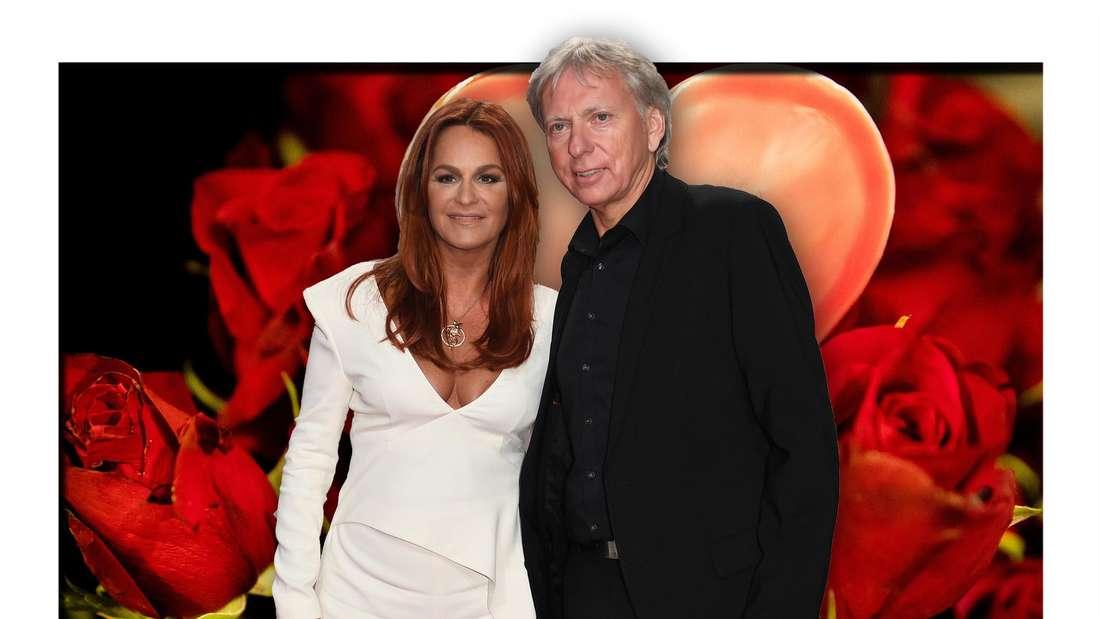 Schlagersängerin Andrea Berg und ihr Mann Uli vor roten Herzen und Rosen (Fotomontage)