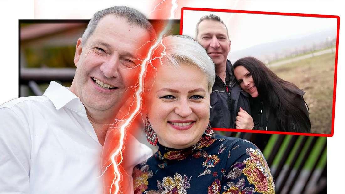 Fotomontage: links Rüdiger und Tatjana durch einen Blitz getrennt, daneben er und Christa