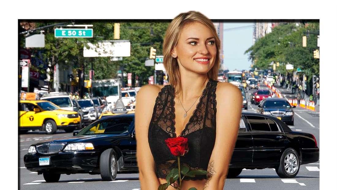 Collage: Bachelor-Kandidatin Kim-Denise mit Rose in der Hand vor einer Limosine