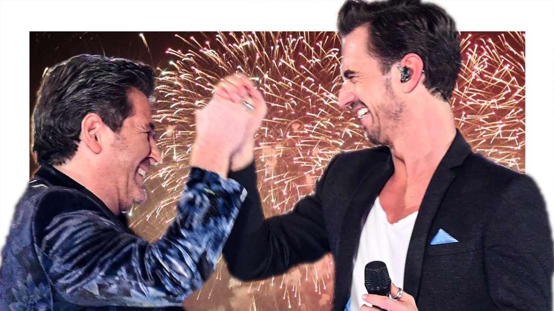 Florian Silbereisen und Thomas Anders klatschen sich vor einem Feuerwerk ab (Fotomontage)