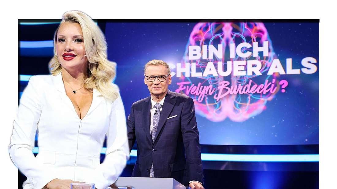 """Evelyn Burdecki und Günter Jauch am set von RTL-Show """"Bin ich schlauer als...?"""""""