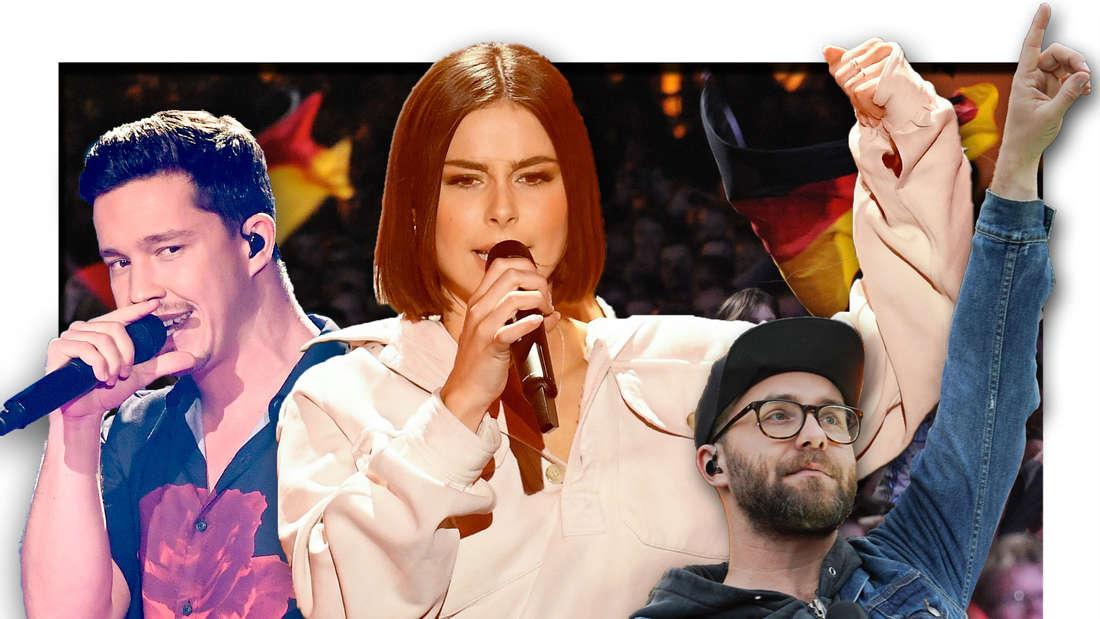 Die Popstars Lena Meyer-Landrut, Mark Forster und Nico Santos vor ESC-Fans (Fotomontage)