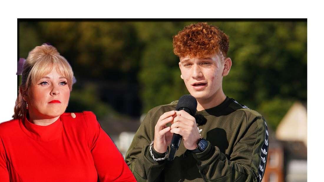 Maite Kelly schaut traurig in die Kamera - im Hintergrund ist Kandidat Jonas zu sehen.