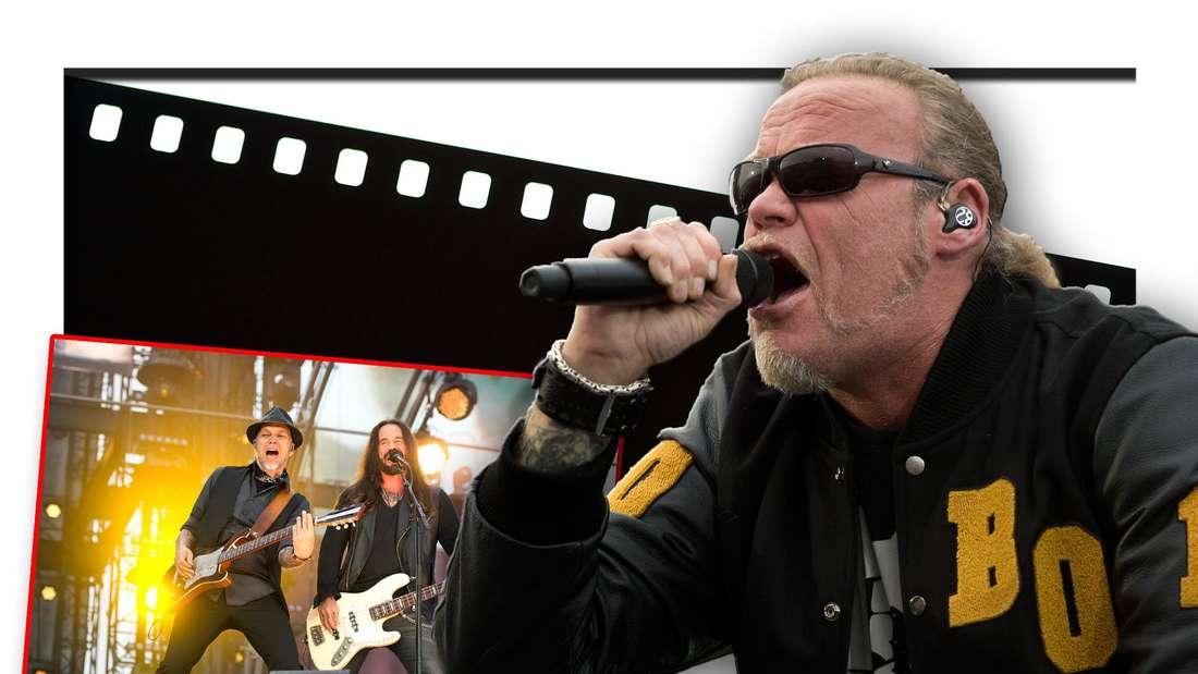 Drei Mitglieder der Frankfurter Rockband Böhse Onkelz vor einer Filmrolle (Fotomontage)