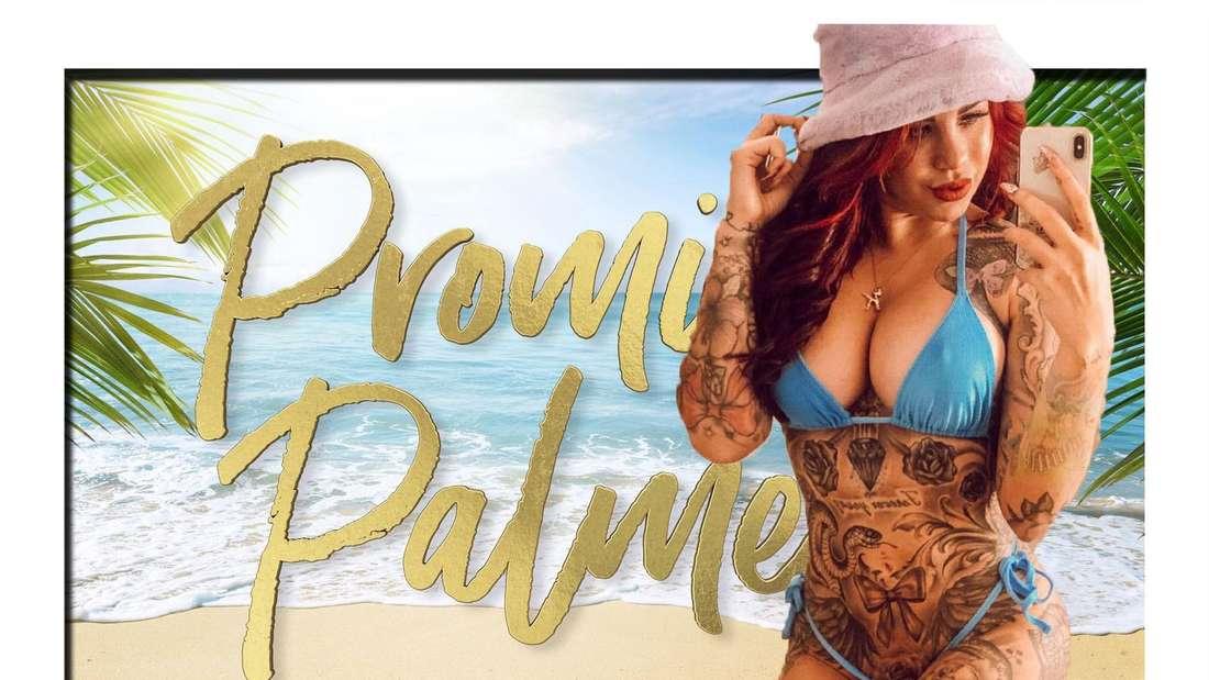 """Collage: Kate Merlan vor einem Strand mit """"Promis unter Palmen"""" Logo"""