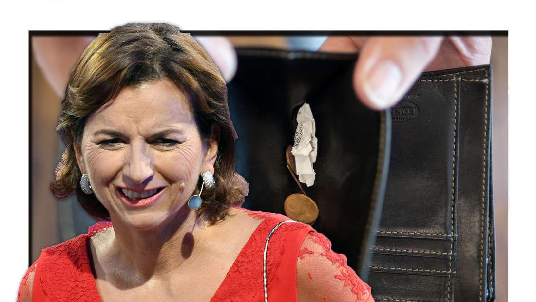 Claudia Obert kneift die Augen zusammen, ein leerer Geldbeutel (Fotomontage)