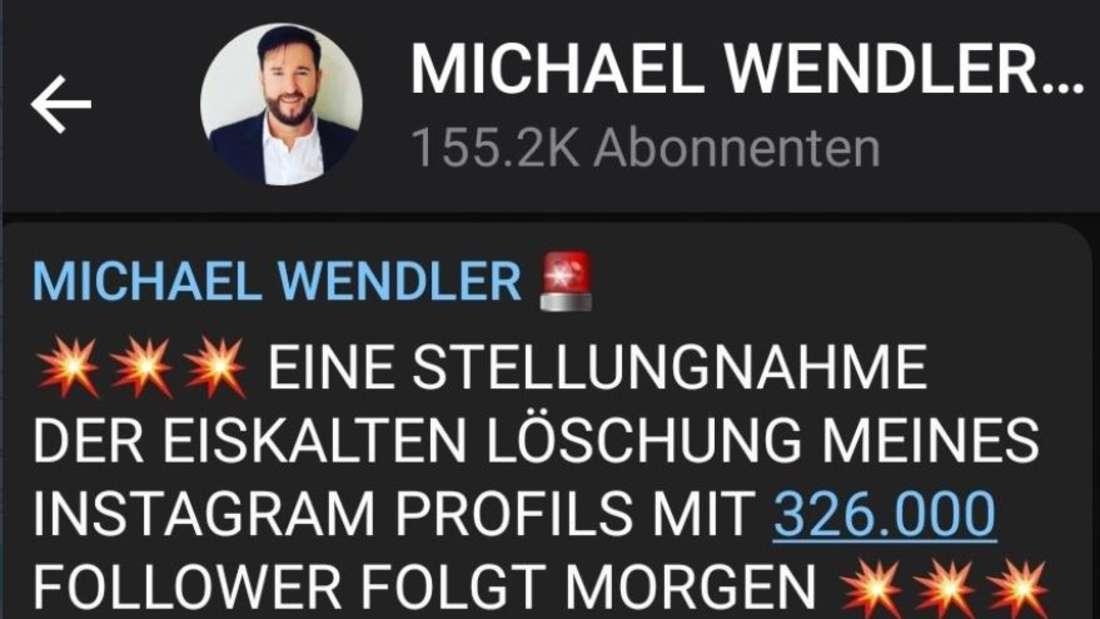 Michael Wendler kündigt eine Stellungnahme an, nachdem sein Account von Instagram gelöscht wurde.