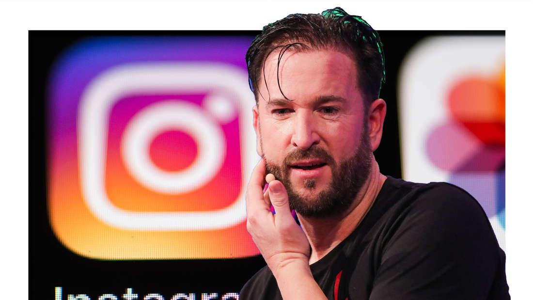 Michael Wendler schaut nachdenklich, kratzt sich an der Wange, im Hintergrund des Logo von Instagram