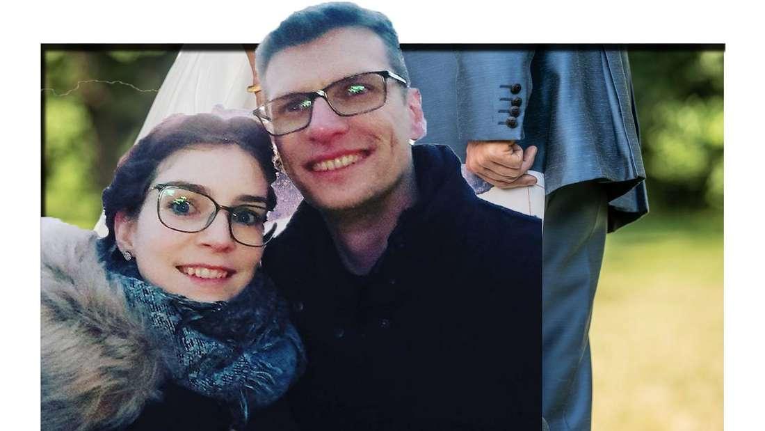 """Fotocollage: HadeB- Annika und Manuel vor einem """"Hochzeit auf den ersten Blick""""Symbolbild"""