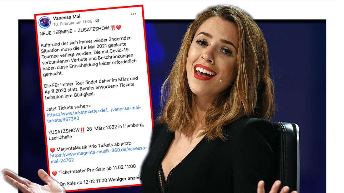 """Vanessa Mai gestikuliert am 07.05.2016 in Düsseldorf beim Finale der RTL-Castingshow """"Deutschland sucht den Superstar"""". Daneben: Screenshot von Vanessa Mais Facebook-Post vom 10.02 (Fotomontage)."""