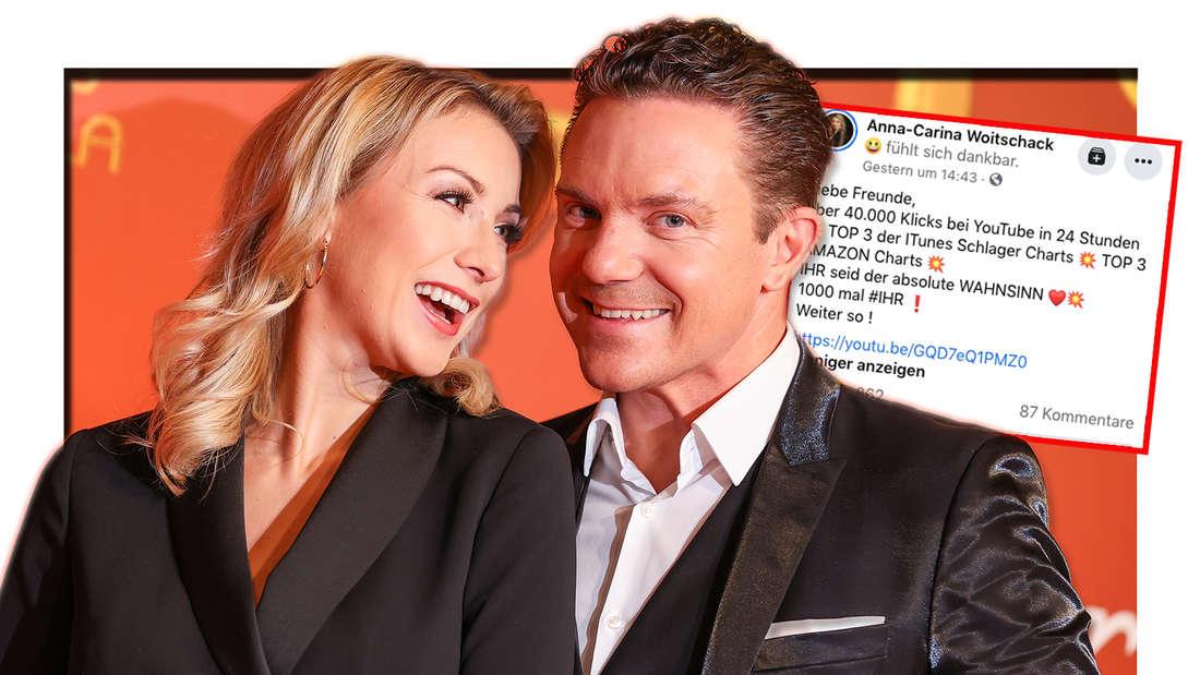Anna-Carina Mross und der deutsche Musiker Stefan Mross kommen zur 26. José-Carreras-Gala am 10.12.2020. Daneben: Ein Screenshot von Anna-Carinas neuestem Facebook-Post. Sie dankt ihre Fans für ihre Unterstützung. (Fotomontage)