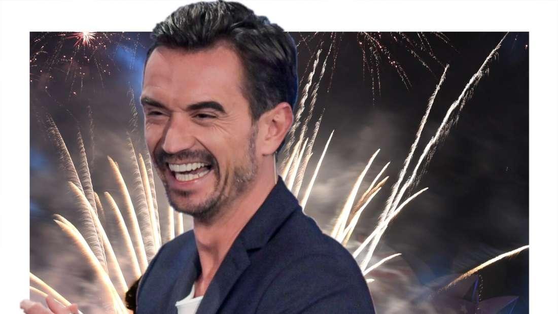 Florian Silbereisen lacht, im Hintergrund ein Feuerwerk (Fotomontage)
