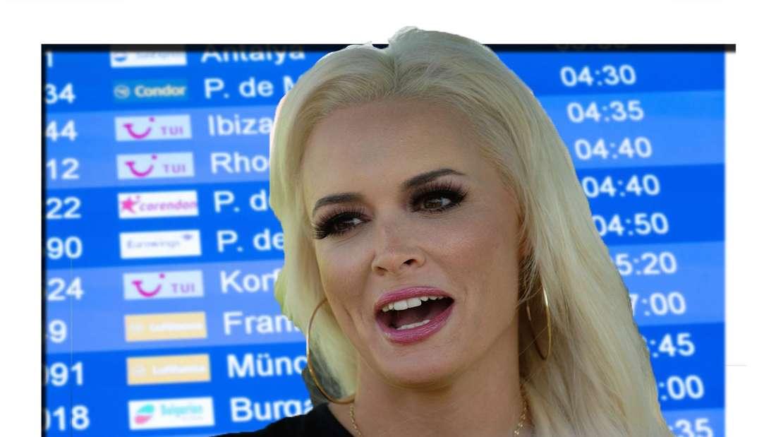 Bildcollage: Daniela Katzenberger vor einer Anzeigetafel des Flughafens in Mallorca