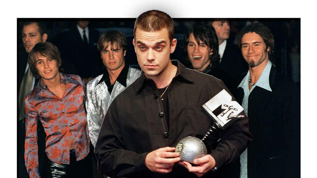 Popsänger Robbie Williams steht vor den übrigen Mitgliedern der britischen Boygroup Take That (Fotomontage)