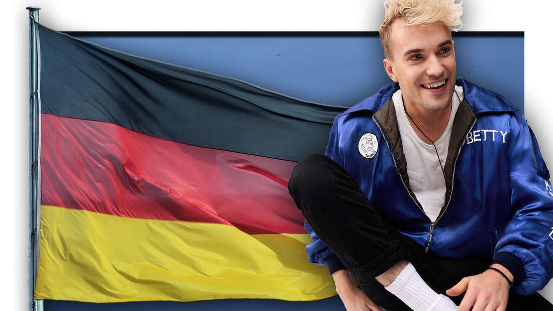 Eurovision Song Contest-Teilnehmer Jendrik Sigwart aus Hamburg sitzt vor einer Deutschland-Flagge (Fotomontage)