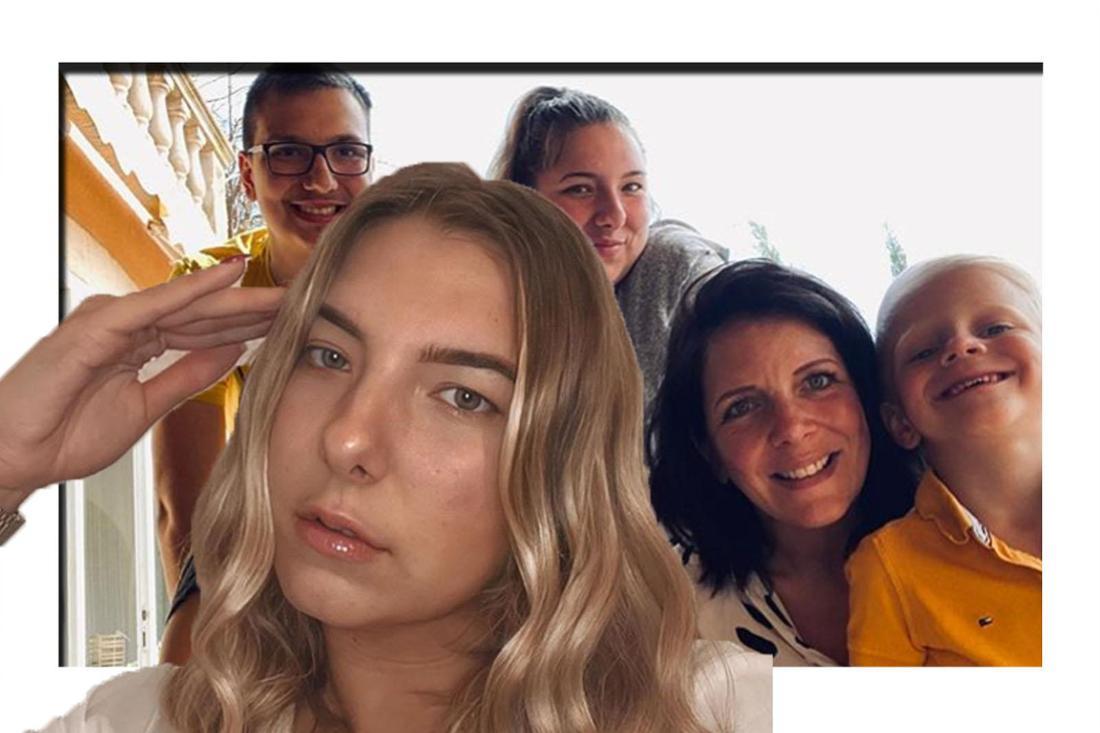 Joelina schaut erschöpft in die Kamera - im Hintergrund sieht man ihrer Mutter gemeinsam mit ihren Geschwistern. (Fotomontage)
