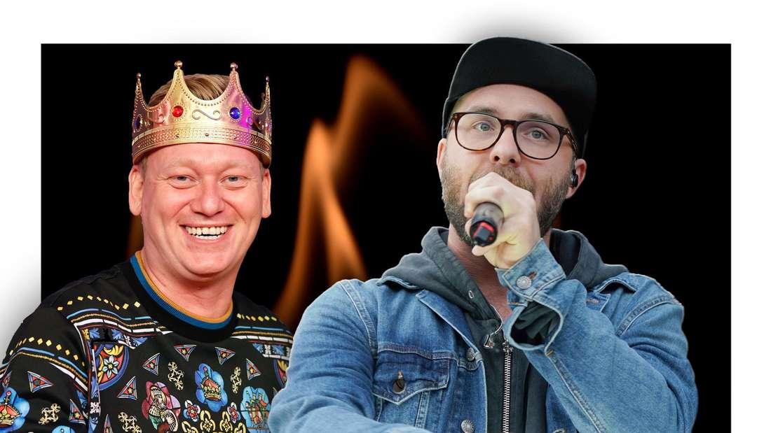 """""""Täglich frisch geröstet""""-Moderator Knossi und Popsänger Mark Forster vor Feuer (Fotomontage)"""