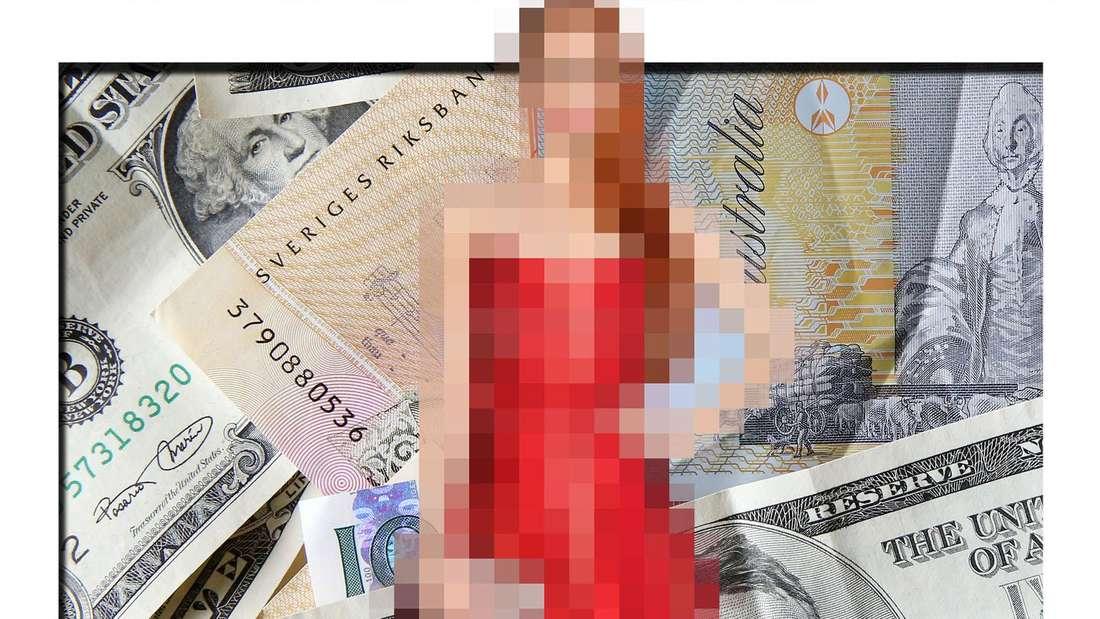 Bildcollage: Barbara Meier vor einem Hintergrund aus Geldscheinen