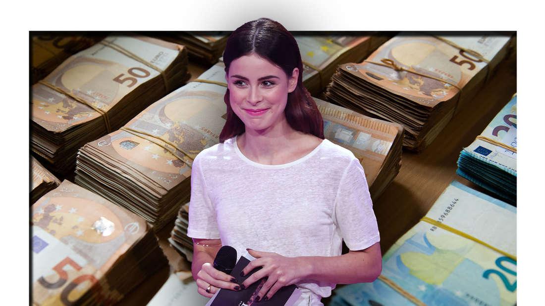 Die Popsängerin und ESC-Gewinnerin Lena Meyer-Landrut steht vor mehreren Stapeln Geldscheine (Fotomontage)