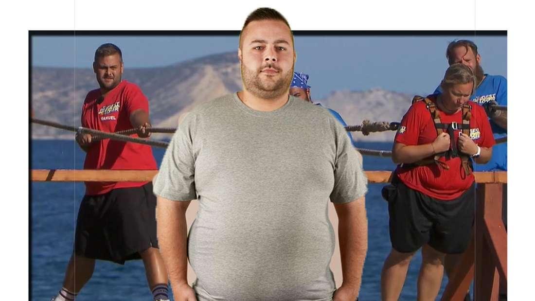 Manuel schaut ausdruckslos in die Kamera - im Hintergrund ist er bei einer Challenge zu sehen (Fotomontage)
