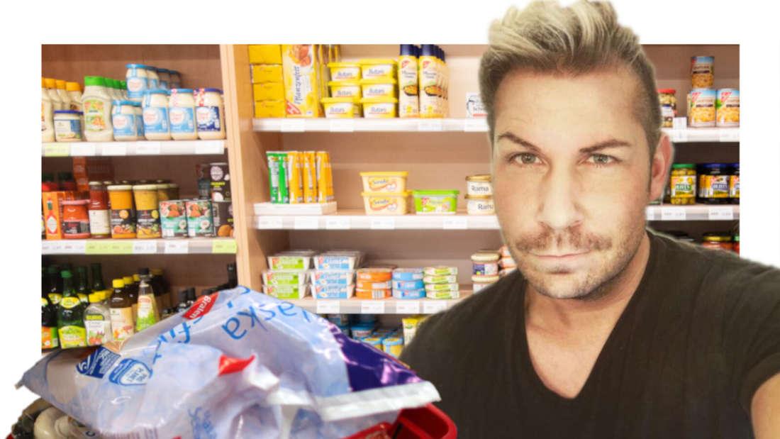 Andy Andress neben einem Einkaufskorb (Fotomontage)