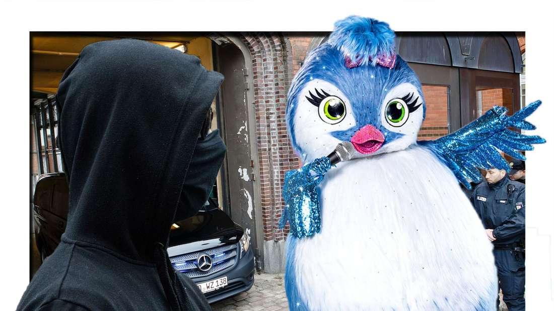 """Vermummte Person, daneben der Vogel der vierten Staffel von """"The Masked Singer"""""""