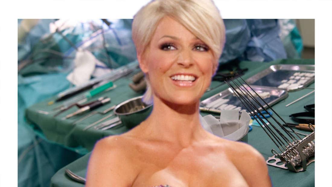 Michelle vor einem Operationsraum (Fotomontage)