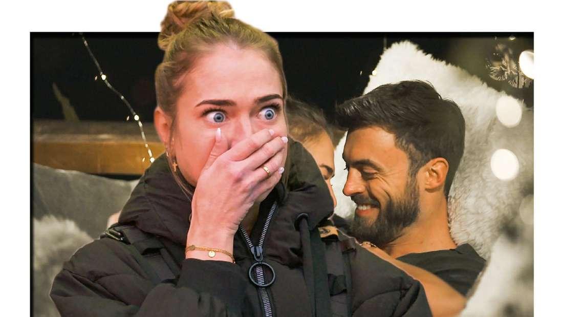 Der Bachelor Kandidatin Mimi mit schockiertem Blick vor Niko Griesert