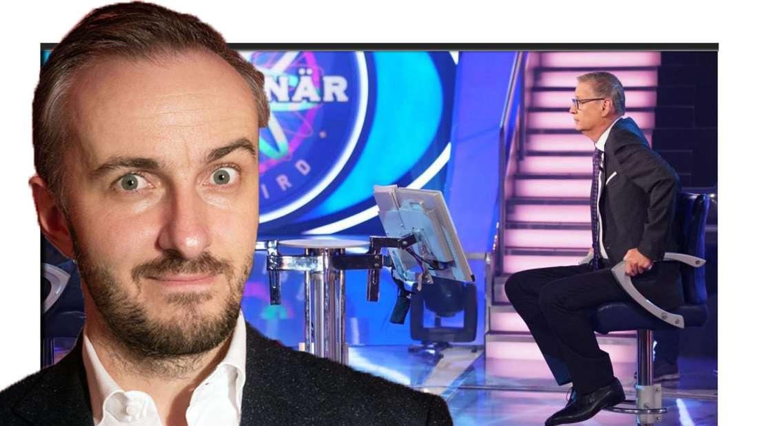 """Bildcollage: Jan Böhmermann vor Günthere Jauch im Studio von """"Wer wird Millionär"""""""
