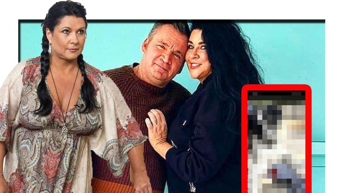 Iris Klein schaut seitlich in die Kamera - hinter ihr ist ist Mann Peter zu sehen (Fotomontage)