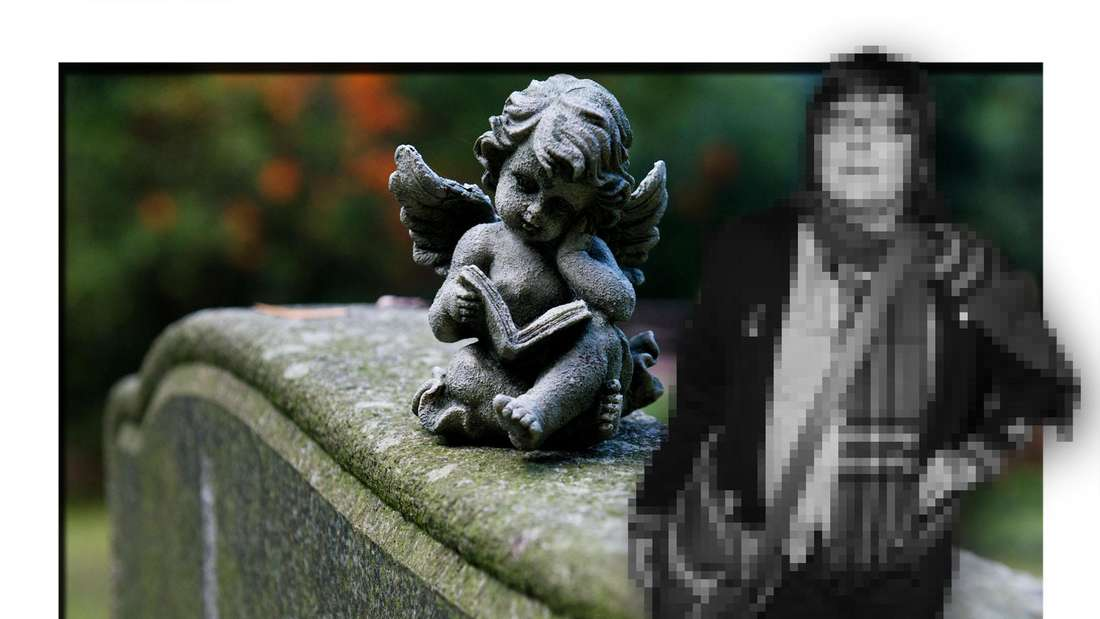 Die verstorbene Musikerin Françoise Cactus steht vor einem Grabstein (Fotomontage)