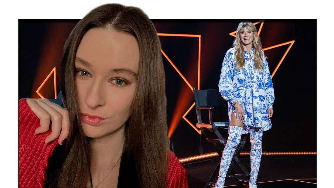GNTM-Kandidatin Ricarda mit Heidi Klum am GNTM Set