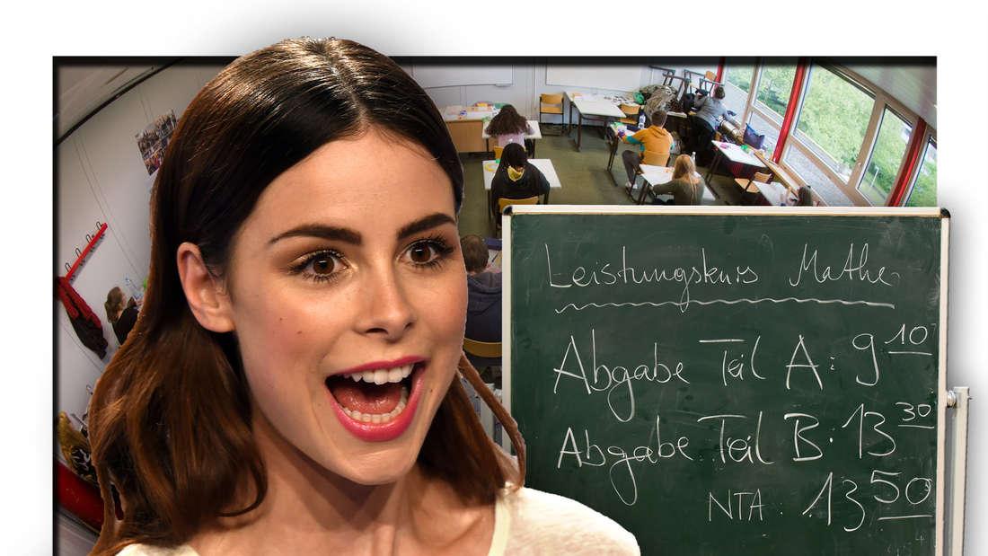Popsängerin Lena Meyer-Landrut vor einem Klassenzimmer, daneben eine Tafel für Abi-Prüfungen (Fotomontage)