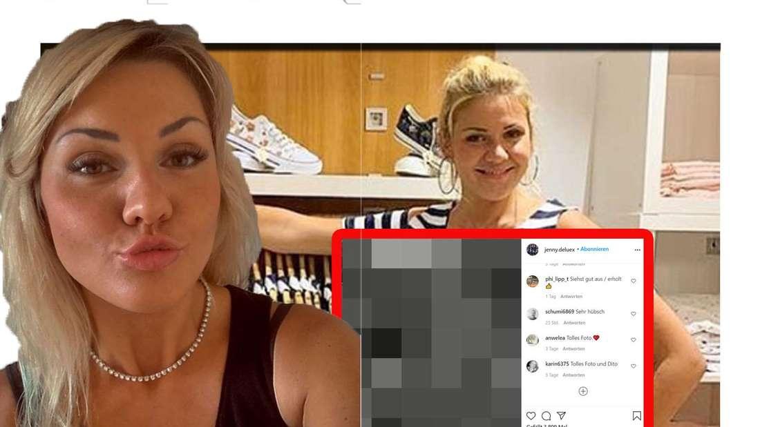 Jenny Matthias macht ein Kussmund in die Kamera - im Hintergrund steht sie in ihrer Boutique (Fotomontage).