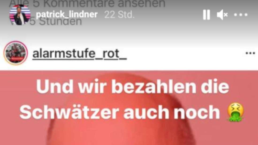 """Instagram-Post von """"Alarmstufe Rot"""" mit Patrick Lindners Kommentar"""