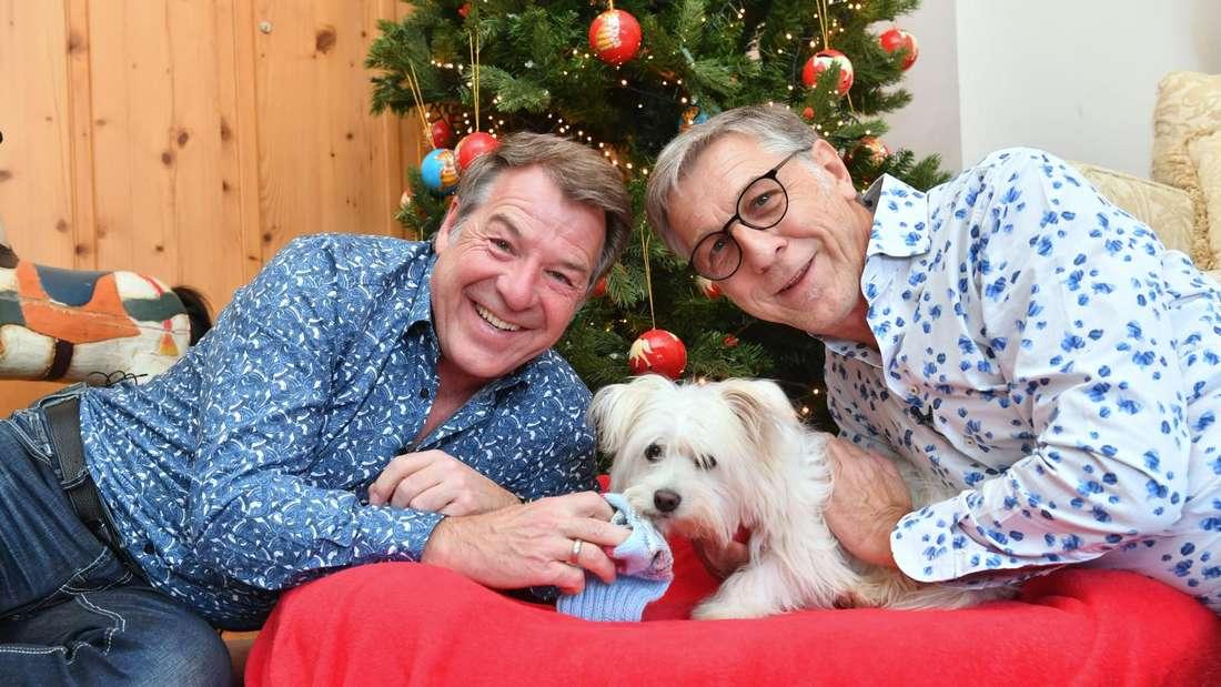 Patrick Lindner und Peter Schäfer mit ihrem Hund vor einem Weihnachtsbaum